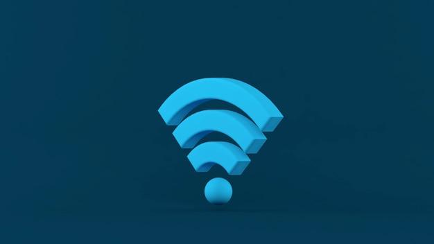 3dレンダリング。隔離された背景に青いwifiワイヤレスネットワークシンボル。ネットワークとインターネットの概念。