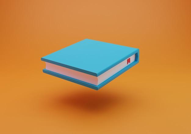 오렌지 배경에서 3d 렌더링 책
