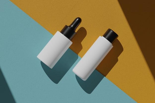 3d 렌더링 병 화장품 모형. 제품 전시를 위해 연단으로 장면을 모의하십시오. 오렌지와 블루 배경