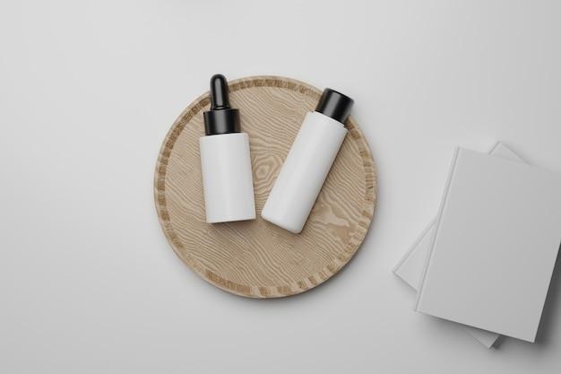 3d 렌더링 병 화장품 모형. 제품 전시를 위해 연단으로 장면을 모의하십시오.