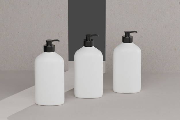 3d rendering bottle cosmetic mockups . mock up scene with podium for product display. brown background