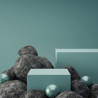 3d rendering box podium with rocks and balls.