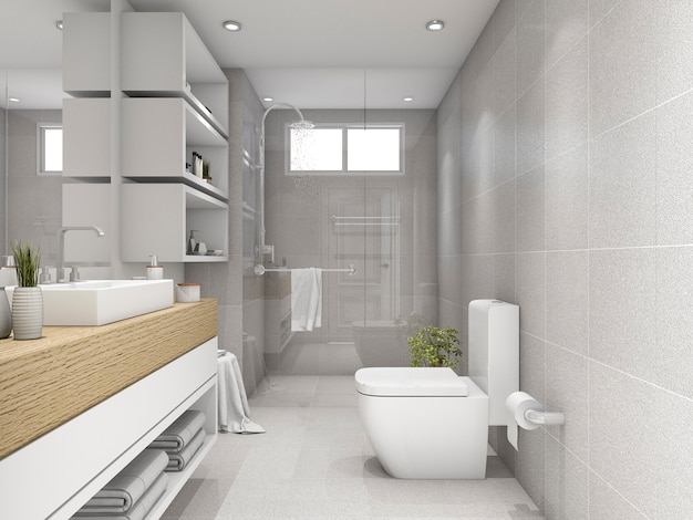 3d rendering bright bathroom with shower