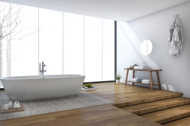 3d rendering bright modern bathroom near window in winter