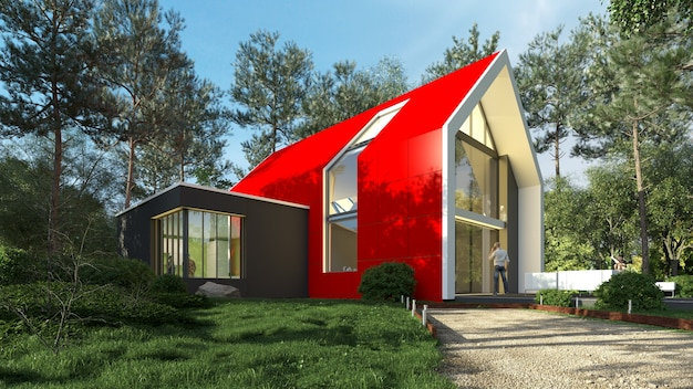 3d rendering of a bright red modern house in a natural landscape