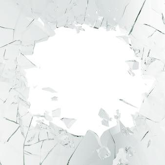 3d рендеринг разбитое стекло, абстрактные иллюстрации на куски, изолированных на белом