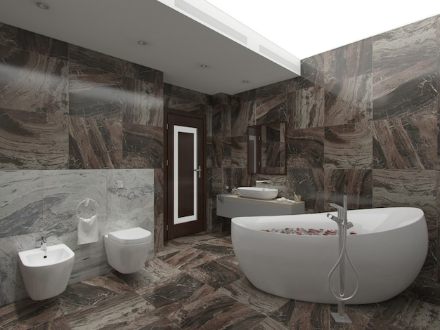 3d rendering brown bathroom