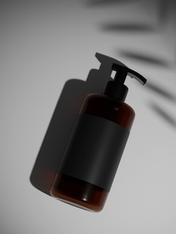 3d rendering brown and black plastic shampoo bottle mock up. put on the wall under the sun.