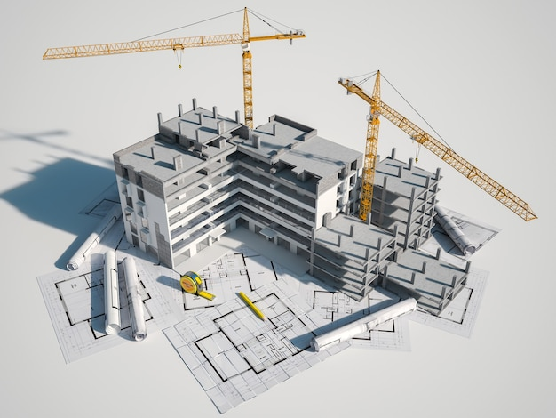 3d rendering of a building under construction on to of blue prints