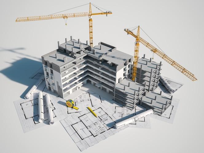 Rendering 3d di un edificio in costruzione su stampe blu
