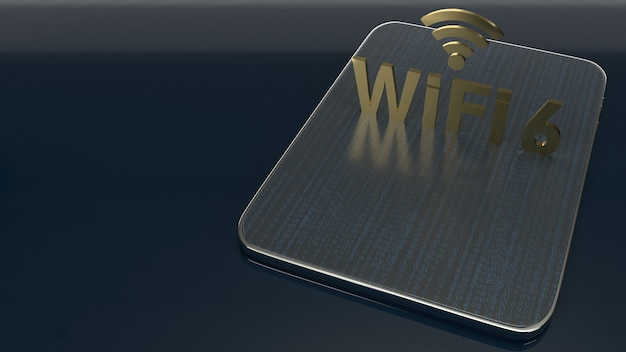 3d rendering  building on tablet for wifi 6
