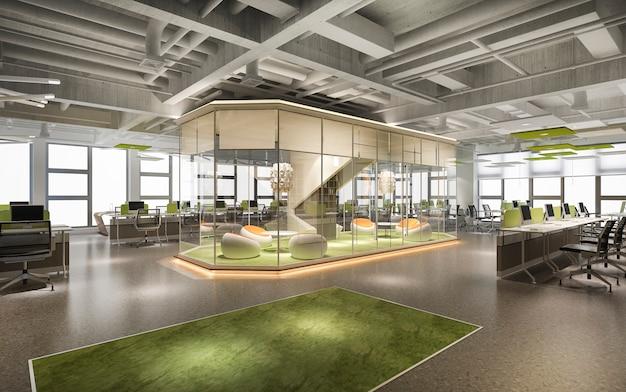 事務所ビルの3 dレンダリングビジネス会議と緑の作業室