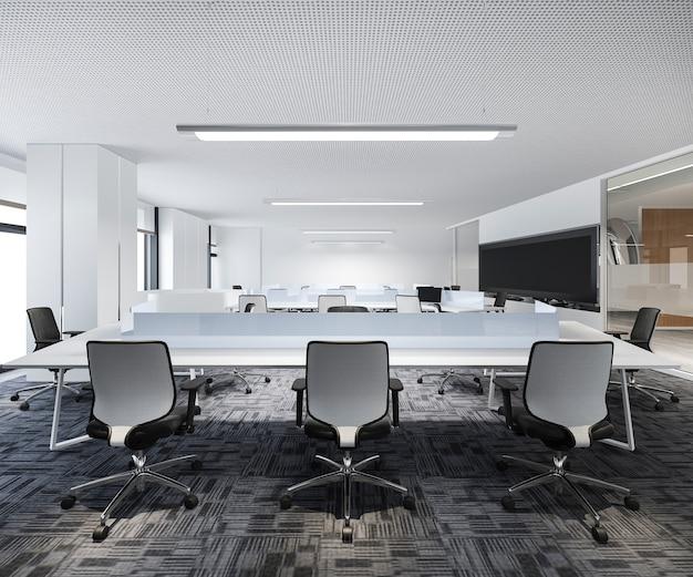 3 dレンダリングのビジネス会議とオフィスビルの作業室
