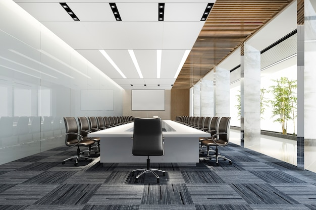 3d rendering business meeting room on high rise office building