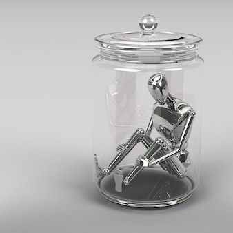 3d rendering businessman inside a glass jar