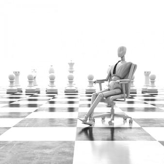 チェスマンの椅子のリーダーに座っている3 dレンダリング実業家