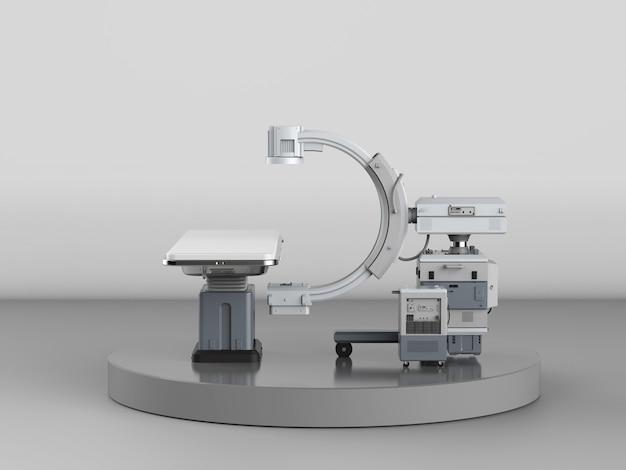 3d-рендеринг машины c-arm с монитором на сером фоне