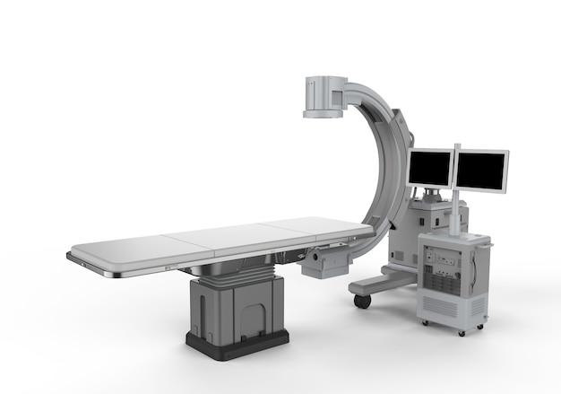 3d-рендеринг машины c-arm с монитором на белом фоне
