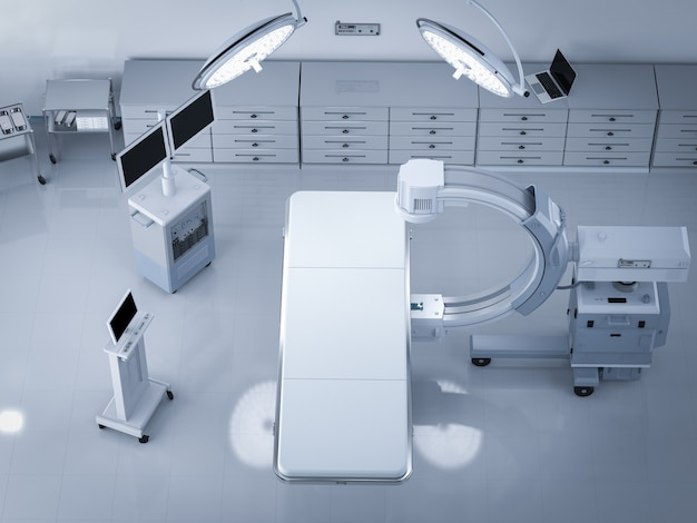 3d-рендеринг c-arm сканер с пустой кроватью