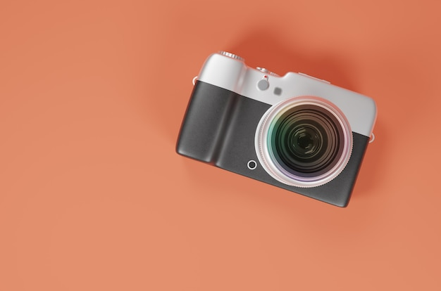 3d rendering camera black and silver color, top view