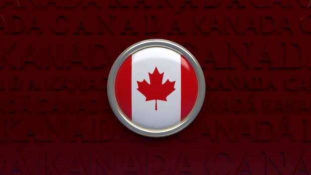 3d rendering of canada national flag