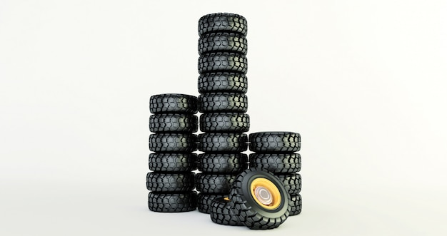 3d rendering of car tires isolated on white