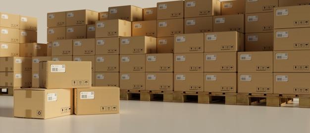 3d-рендеринг, картонные коробки, сложенные на складе, 3d-иллюстрация, логистическая концепция