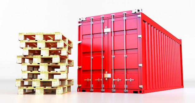 3d rendering of cargo container isolated on white background. containers box from cargo freight ship for import and expor,  pallet shipment