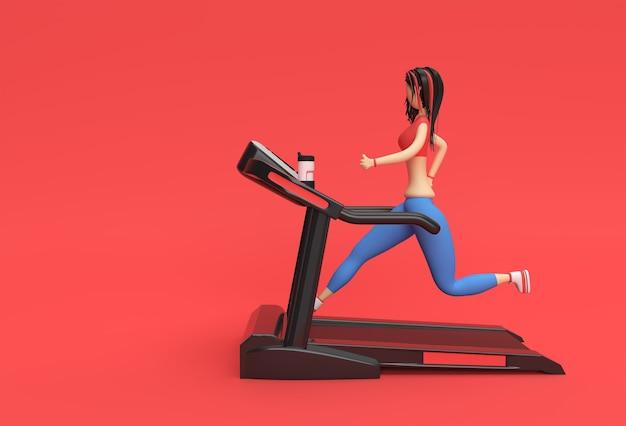 フィットネスの背景でトレッドミルマシンを実行している3dレンダリング漫画のキャラクターの女性。
