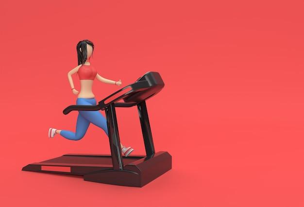 3d 렌더링 만화 캐릭터 피트 니스 배경에서 디딜 방 아 기계를 실행 하는 여자.