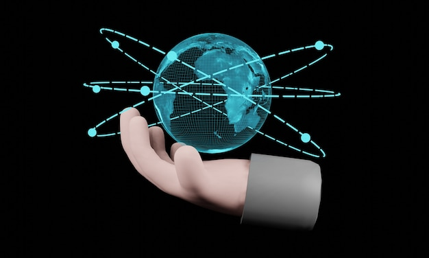 3d 렌더링. 검은 배경에 홀로그램 현재 세계지도를 들고 만화 손. 통신 네트워크의 개념