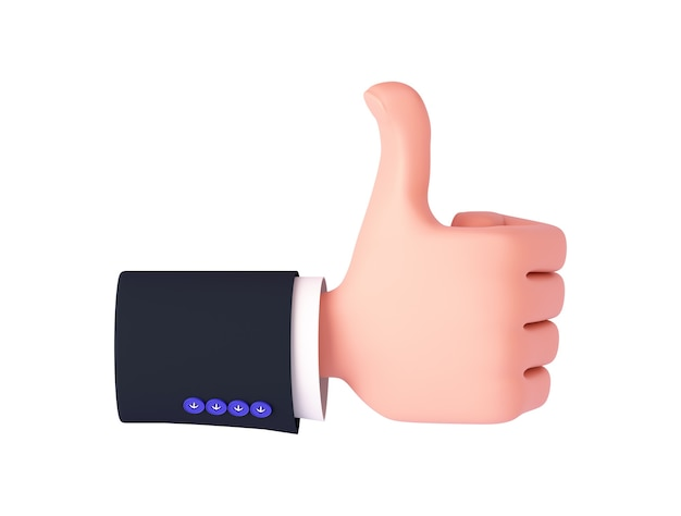 3d rendering, a cartoon hand with a sleeve shows a like sign on the back of the hand. hand gesture