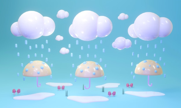 3d rendering of cartoon style of umbrellas and cloud with rain in concept of rainy season