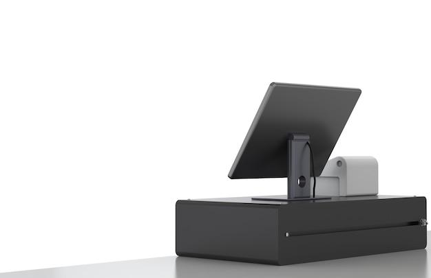 3d rendering cashier machine or cash register on white background