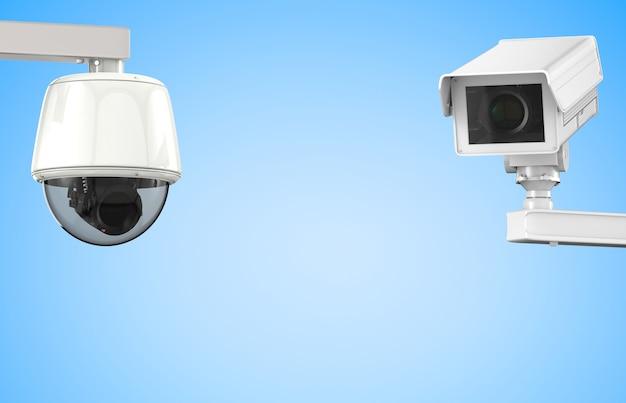 3d-рендеринг камеры видеонаблюдения или камеры безопасности на синем фоне