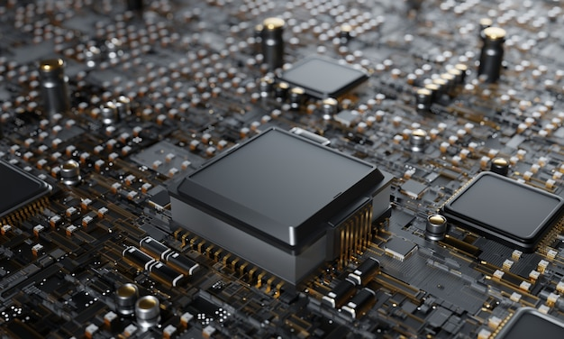 3d rendering, central computer processors cpu concept technology background microprocessor chipset central processor unit cyber and futuristic concept, hardware, ai, electronics, with copy space