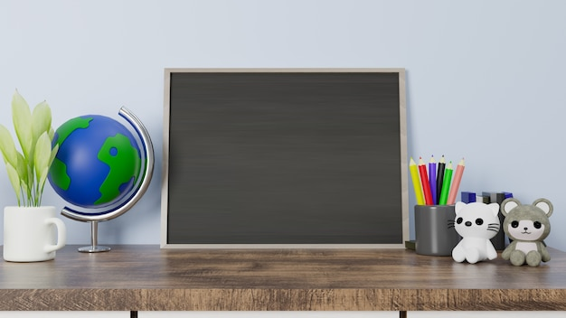 3d rendering chalkboard on wooden table with cat and bear doll.