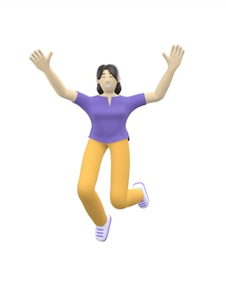 3d rendering character of an asian girl jumping and dancing holding his hands up.