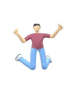 3d rendering character of an asian guy jumping and dancing holding his hands up. happy cartoon people
