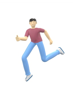 3d rendering character of an asian guy jumping and dancing holding his hands up. positive illustration