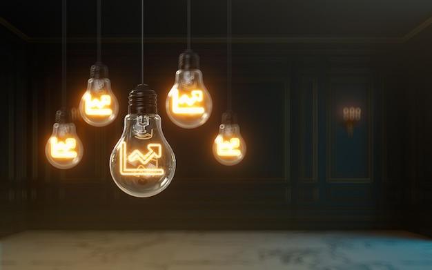 電球のプレミアムカバー写真の背景の中で3dレンダリングの折れ線グラフのアイコンが光る
