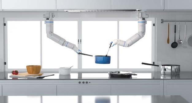 3d рендеринг шеф-повар робот готовит на кухне