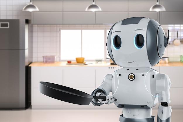 3d-рендеринг шеф-повар-робот готовит на сковороде