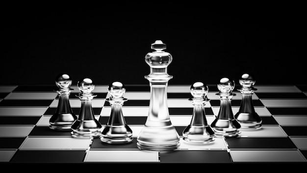 3d 렌더링. 리더십 개념에 대한 체스 보드 게임.