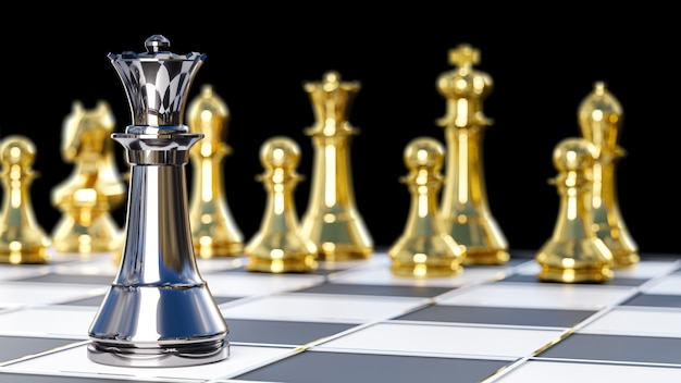 3d rendering. chess board game for leadership concepts.