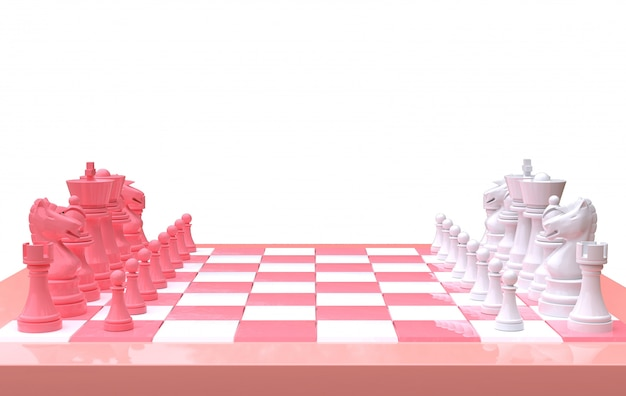 3d rendering chess on a chess board,isolated white background,pink and white minimal