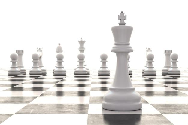 3d rendering chessmen on glossy chessboard