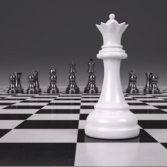 光沢のあるチェス盤の3 dレンダリングチェスマン