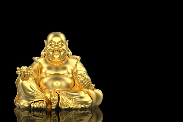 3d rendering. chinese golden happy smiling monk buddha statue with clipping path isolated on black .