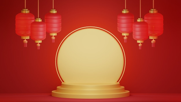 3d rendering chinese new year background. lunar new year banner.